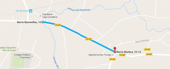 Paseo peatonal entre Mortera de Hoz y Hoz de Anero