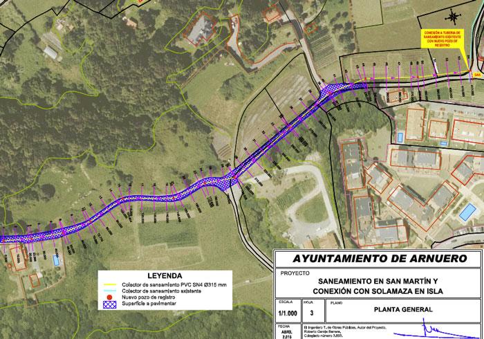 Cuevas Gestión de Obras SL adjudicataria de la obra Saneamiento en San Martín y conexión con Solamaza en Isla, Cantabria