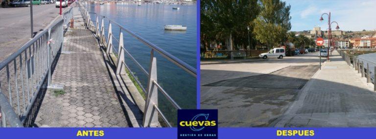 Finalización de las obras de reparación parcial de acera y calzada en la estación de autobuses de Sna Vicente de la Barquera