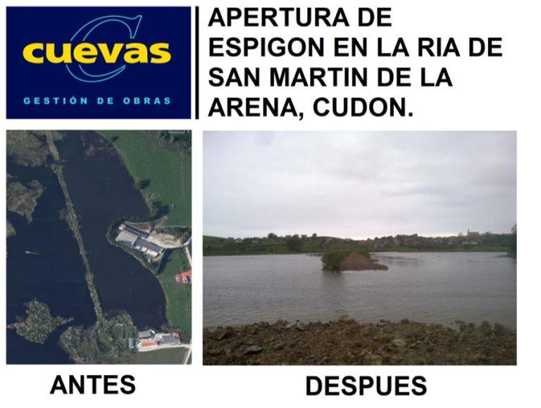 Apertura de espigón en la ria de San Martín de la Arena