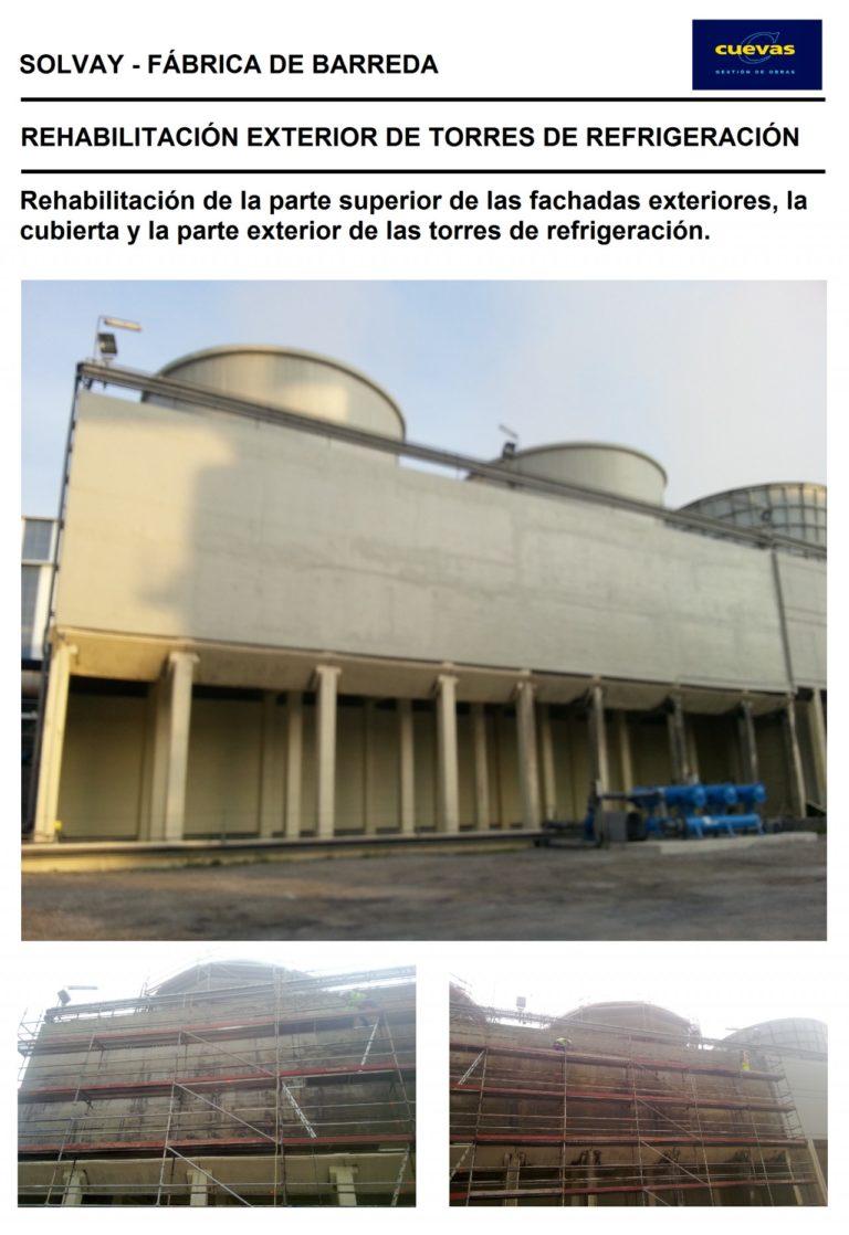 Rehabilitación exterior de torres de refrigeración en la fábrica de Solvay Química S.L. de Barreda