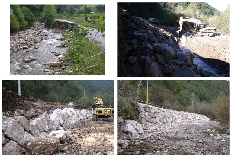 Reparación de hundimientos en la carretera CA - 630 producidos por la crecida del río Pandillo