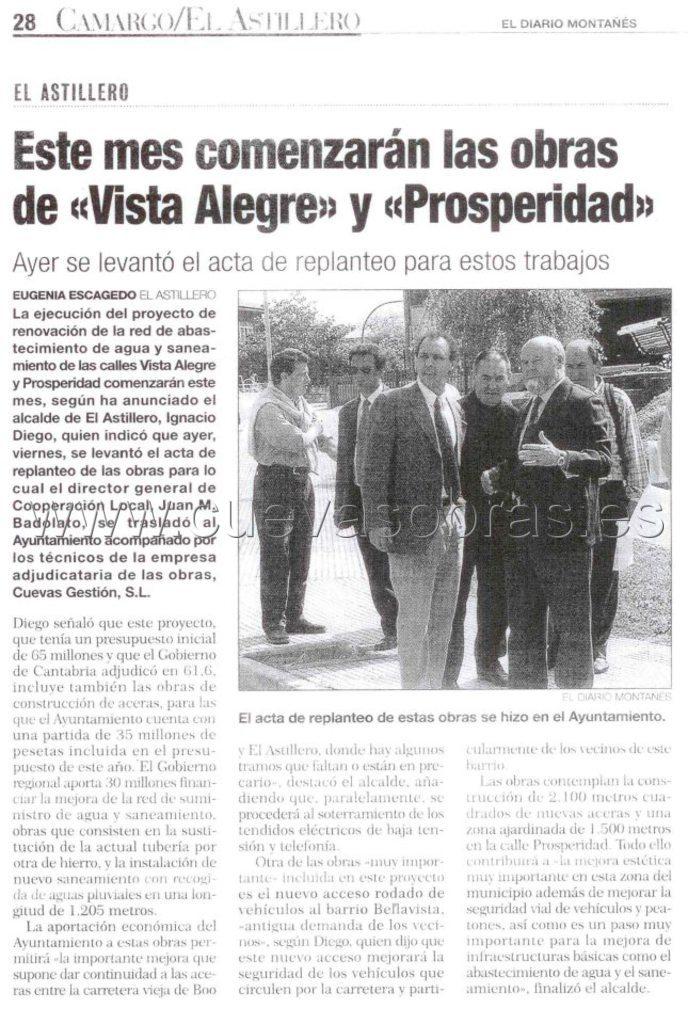 Ejecución de saneamiento y abastecimiento de la calle Vista Alegre y Prosperidad
